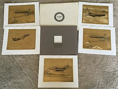 R.g. Smith Mcdonnell Douglas Airplane Gold Etchings Employee Gift In Envelope!
