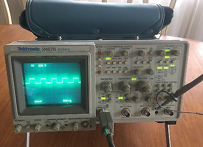 TEKTRONIX 2467B 400MHz ANALOG 4 CH. OSCILLOSCOPE CALIBRATED EXCELLENT 4 PROBES