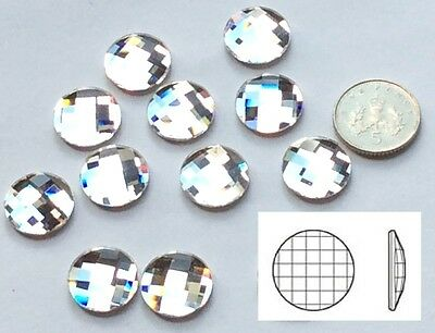 16 Swarovski Elements Clear Crystal Chessboard Circle 14mm Flat Back Ref: 2035