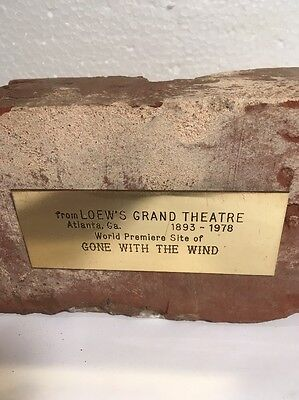 """Vtg Collectible BRICK from Loew's Grand Theatre  """"Gone with the Wind"""" Premiere"""