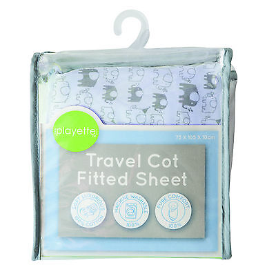 Printed Travel Cot Fitted Sheet - Blue Elephant 1353508..