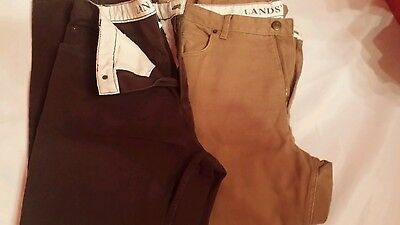 Lands' End Lot of 2 Womans Jeans 14P petite Brown and Tan
