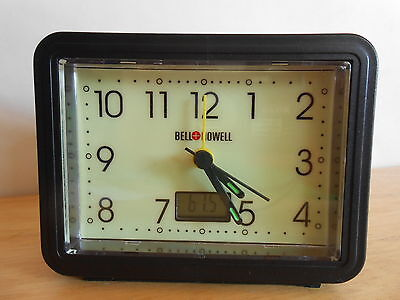 Bell & Howell Glow IN The Dark Alarm Clock With Digital Thermometer