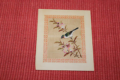 Vintage Chinese Miniature Painting On Silk Fabric-Colorful Bird In Tree Branch