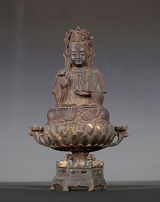 Very Rare Old Heavy Chinese Bronze GuanYin Seated Statue Marks AA022