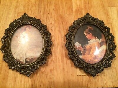2 vintage ITALIAN ornate Brass oval picture frames & portraits Action Co.w/label