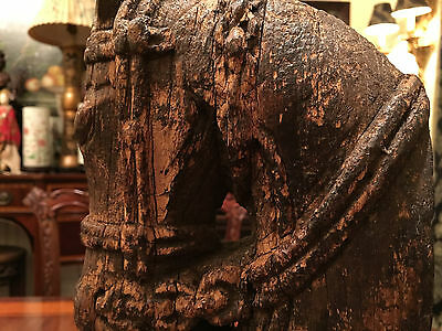 A Rare Chinese Antique Carved Wooden Horse Head with Stand.