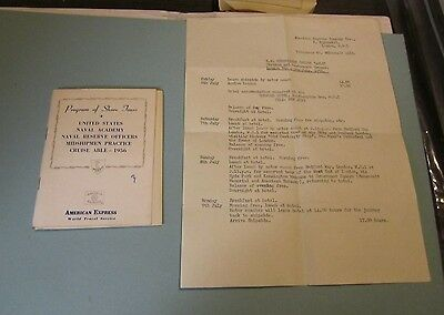 1956 USNA US Naval Academy American Express Program of Shore Tours Book + Letter