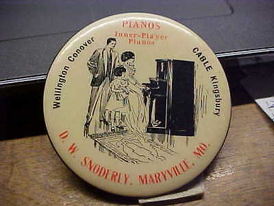 MO, MARYVILLE D W SNODERLY Player Piano Celluloid Advertising Pocket Mirror