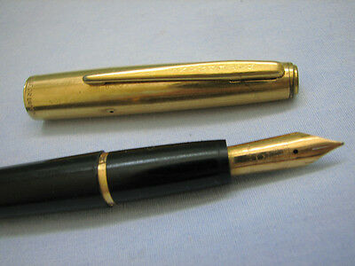 Vintage Waterman 18K Gold Nib Double Or Lamine Fountain Pen Made In France