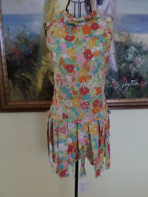 60's True Vintage Hippie Go Go Psychedelic Flower Romper Playsuit Green Red Pink