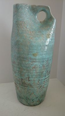 Large Art Studio Pottery Jug Stoneware Centerpiece Blue Green With Beehive Rings