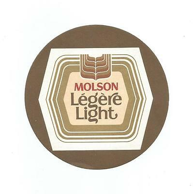 Canadian MOLSON LEGERE LIGHT Paper BEER COASTER