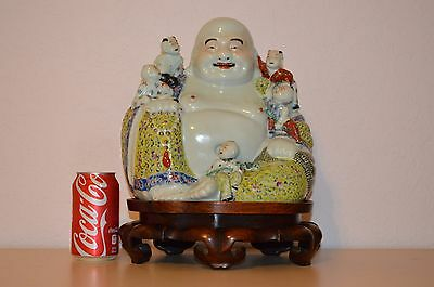Antique Chinese famille rose porcelain Buddha with artist mark