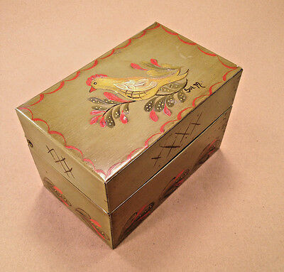 Vintage Metal Recipe Box Tole Painted by Sue M Hen Rooster