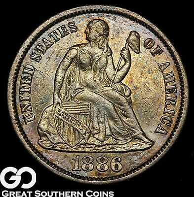 1886-S Seated Liberty Dime, Choice AU++ Better Date ** Free Shipping!