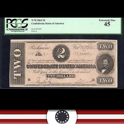 T-70 1864 $2 CONFEDERATE Currency, PCGS 45, SOUTHERN paper money   84022