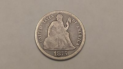 1875 Seated Liberty Dime. Uncleaned. Old Circulated 90% Silver US Dime...NR