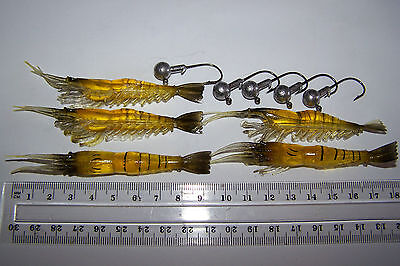 soft plastic prawn shrimp fishing lure x5 & 5x jig head. Flathead, Bream, Cod.