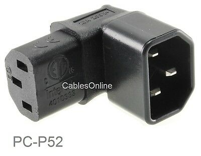 Right-Angle Down IEC 320 C14 Male to IEC 320 C13 Female Power Adapter, PC-P52