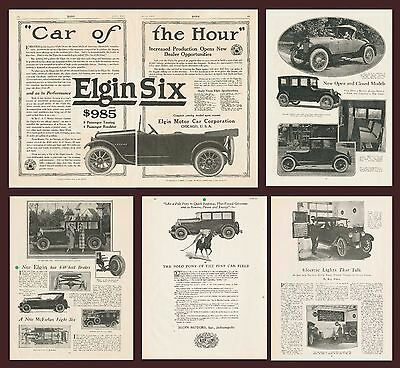 1917 1922 1922 ELGIN SIX MOTOR CAR ADVERTISEMENTS  - LOT of 5 ADS - CHICAGO IL