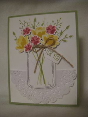 Stampin' Up! JAR OF LOVE YELOW PINK Flower Doily All Occasion Card Kit  4 Cards