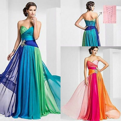 new Long Chiffon Bridesmaid Formal Gown Ball Party Cocktail Evening Prom Dress $