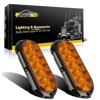 """2PC Amber Surface Mount 6 LED 6"""" Oval Stop Turn Signal Tail Marker Lights Sealed"""