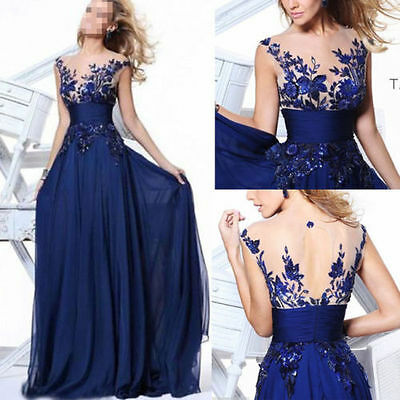new Long Wedding Applique Evening Prom Gown Cocktail Party Formal Blue Dress $&
