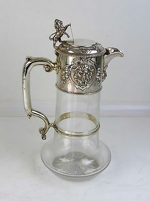 Superb SILVER & GLASS CLARET WINE JUG, London 1860 by John Figg Lion finial