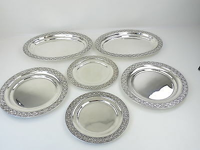 Superb quality SUITE 6 SILVER MEAT or SERVING PLATES, London 1903 Dobsons 5030g