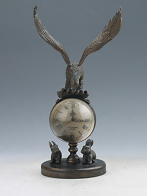 Collectible Old Chinese Brass Handwork Mechanical Table Eagle Clock