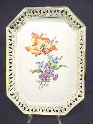 Herend Printemps Bouquet De Tulpe Openwork Gallery Tray,master Pieces,signed