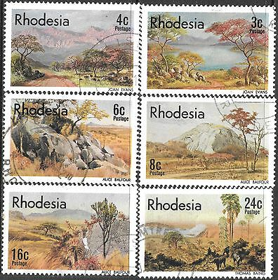 Rhodesia 1977 Landscape Paintings Complete Used Set 1579