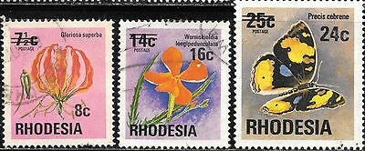 Rhodesia 1976 Definitive Surcharges Fauna & Flora Complete Postal Used Set 0655