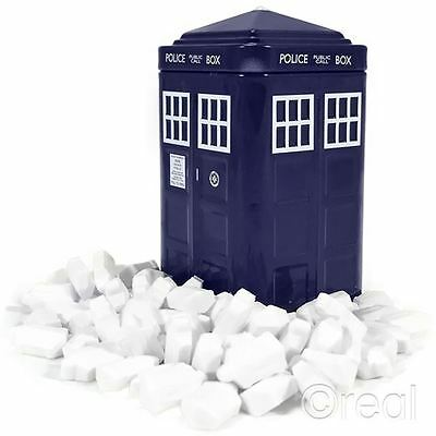 New Doctor Who TARDIS Tinned Mints Tin Gift Box DW Logo Shaped BBC Official