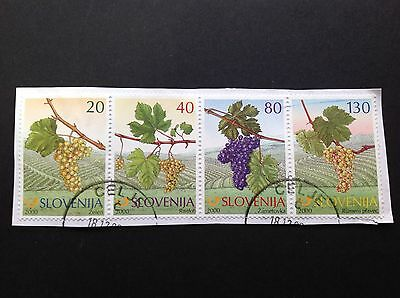 Slovenia 2000 Old Grapes Strip On Paper Used