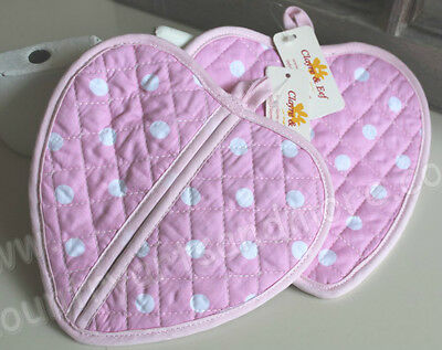 CLAYRE & EEF, 2 er Set Topflappen,Pot Holder * HERZ / HEART * Rosa Dots,100 % BW