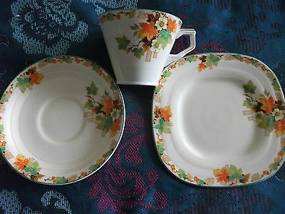 GRINDLEY, ART DECO TRIO, CREAMPETAL, AUTUMN, 1940s MADE IN ENGLAND