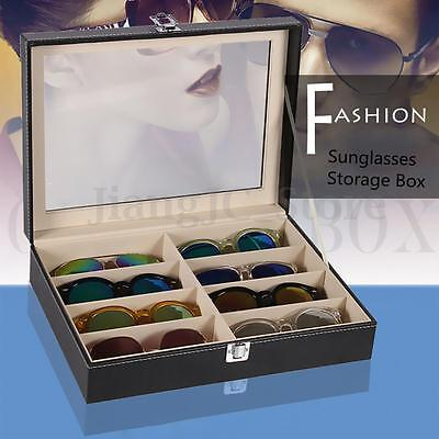 8 Grids PU Leather Sunglasses Glasses Display Storage Case Box Organizer Holder
