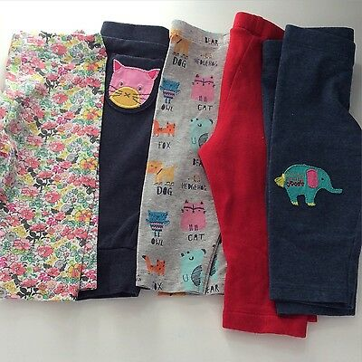5 Pairs Next Trousers 3-6 Months.  Flowers/floral/red/elephant