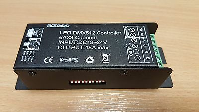 LED DMX512 Controller 6x3A Channel DC12-24V