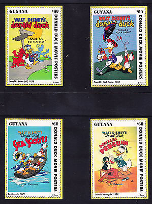 GUYANA set of 50 Vintage Disney Donald Duck Movie Poster Cards stamps - with box