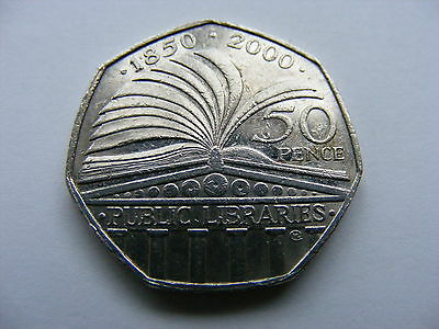 "British 50p Coin 2010 - "" 150 Years of Public Libraries """