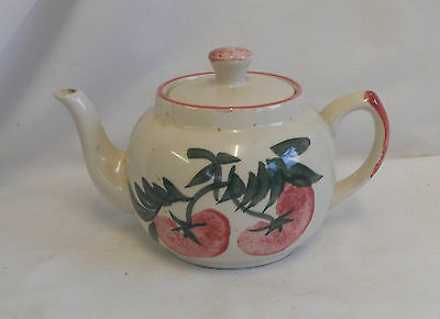 STUNNING Vintage Collectable HAND PAINTED FLORAL STONEWARE TEAPOT 10cm