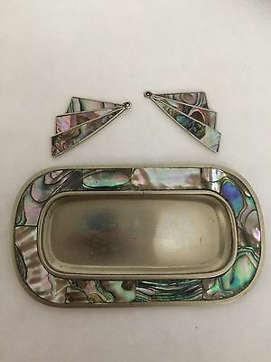 Vintage Alpaca Silver and Abalone Shell Trinket Dish and Earrings