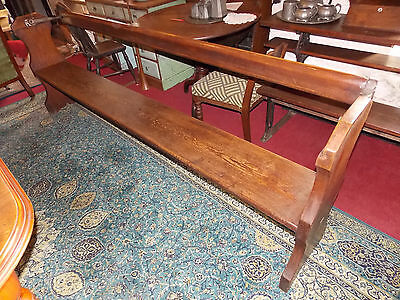 Antique Victorian pitch pine reversible pew settle bench railway tram chapel 8ft