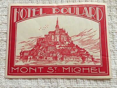 Early 1900s Hotel Poulard Mont St Michel Travel Luggage Label