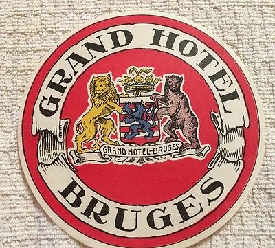 Early 1900s GRAND HOTEL BRUGES Travel Luggage Label