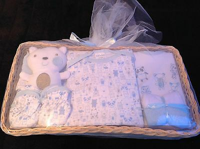 *New* Newborn Baby Gift Set with Bodysuit, Booties, Hat, 2 Washcloths & Toy